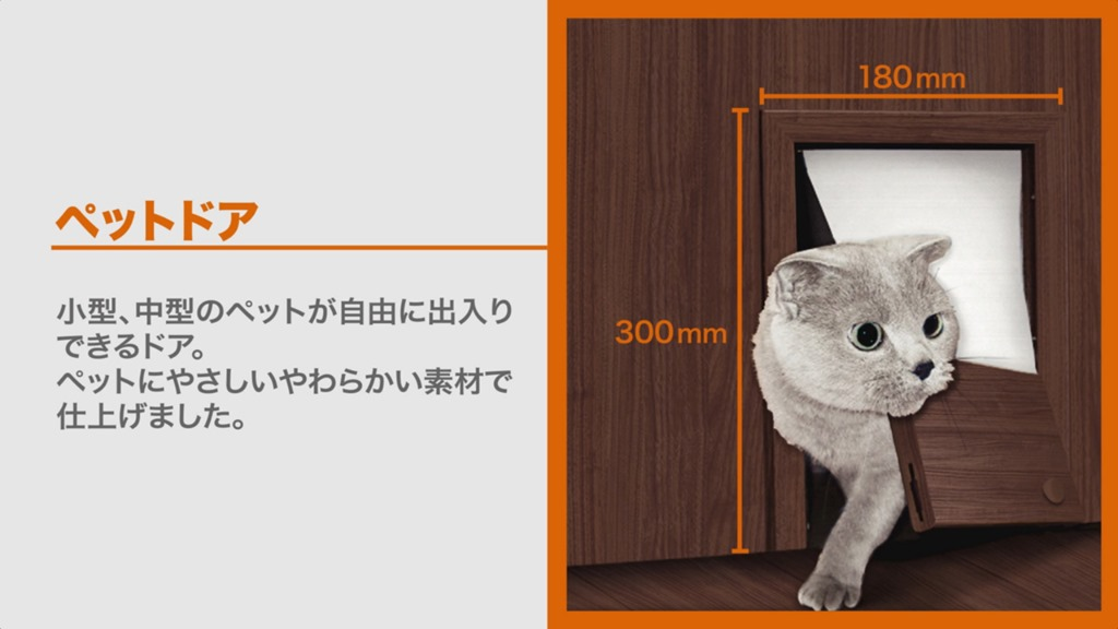 【猫が部屋から部屋に】LIXILのウッディーラインの室内ドアにはペット用ドアをつけられます